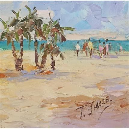 Tatiana Jmara playa con palmeras 13 x 13 cm