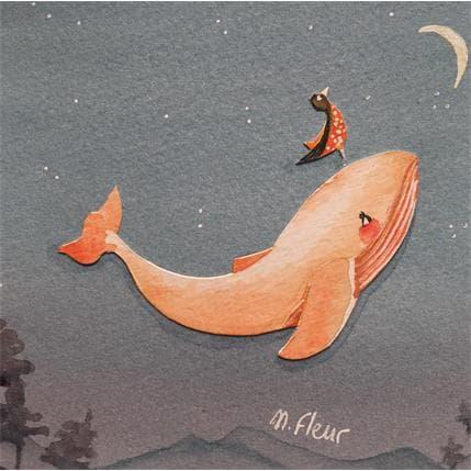 Marjoline Fleur La baleine orange 13 x 13 cm