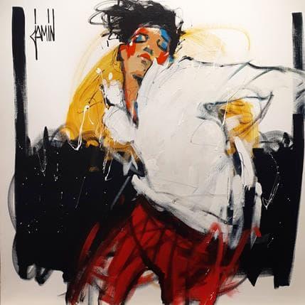 David Jamin Dandy au pantalon rouge 100 x 100 cm
