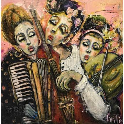 Nicole Garilli Elegant trio de rue au féminin 80 x 80 cm