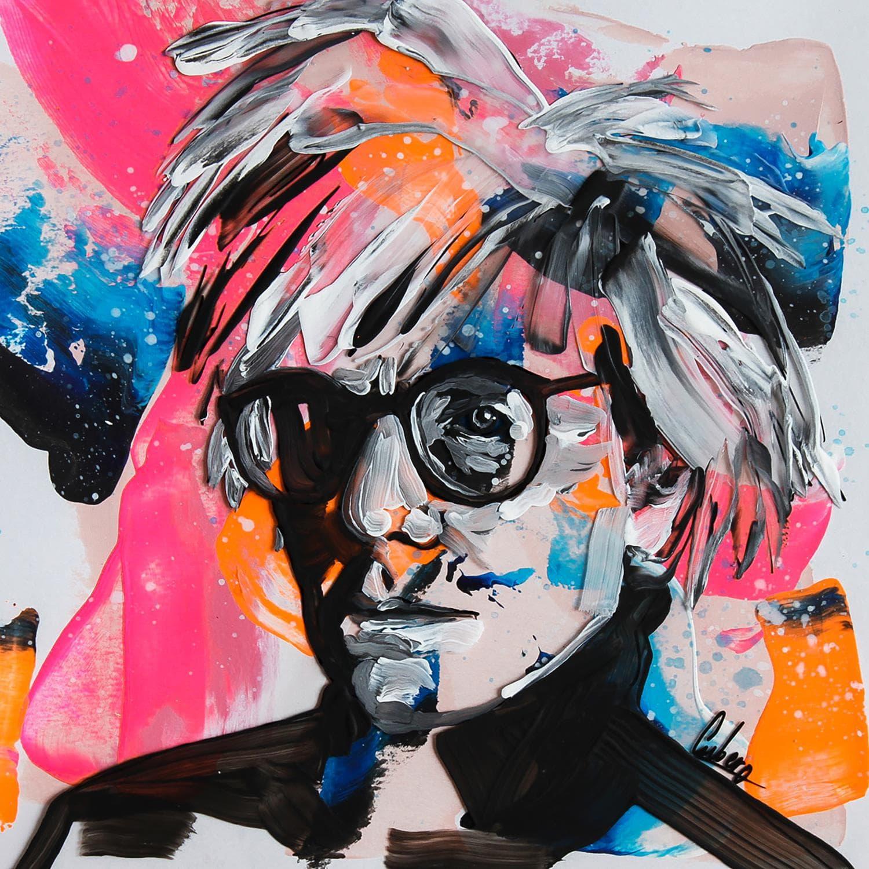Mixed Media Paintings Mixedandy Warhol 73b By Nathalie Cubero Carré D Artistes