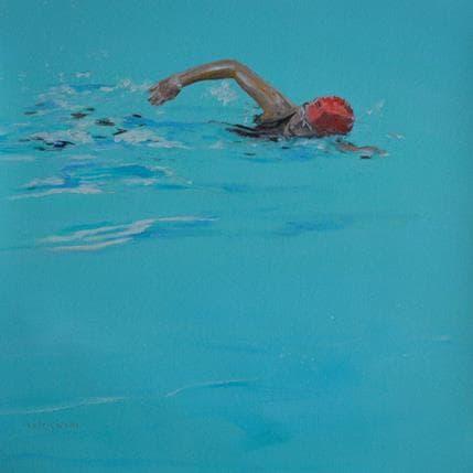 Sergi Castignani Red swimming cap 36 x 36 cm
