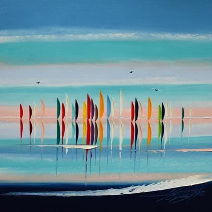 David Fonteyne Le ciel le soleil et la mer 36 x 36 cm