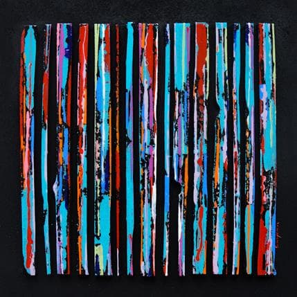 Luc Langeron Street bleu multi rouge 36 x 36 cm