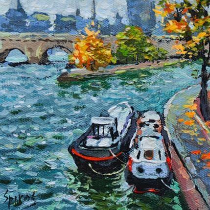 Dmitry Spiros Seine river 13 x 13 cm