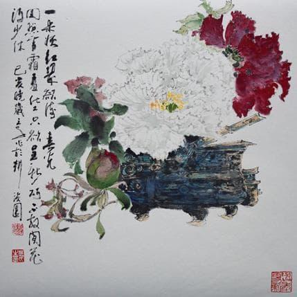 San Qian Exquisite peony 36 x 36 cm