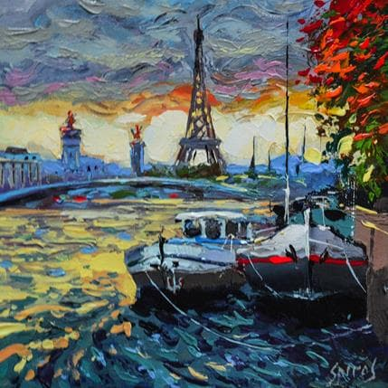 Dmitry Spiros Cloudy river Seine 25 x 25 cm