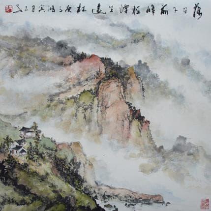 Sanqian Sun setting among clouds 36 x 36 cm