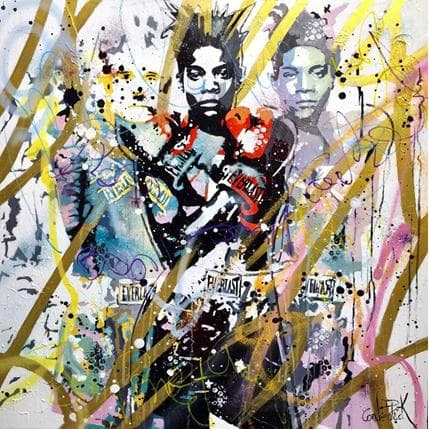 Patrick Cornée Basquiat and Warhol, street art and pop art melody 80 x 80 cm