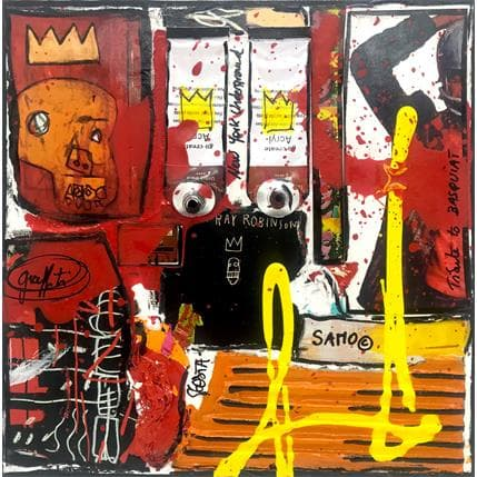 Sophie Costa Tribute to Basquiat (blanc) 19 x 19 cm