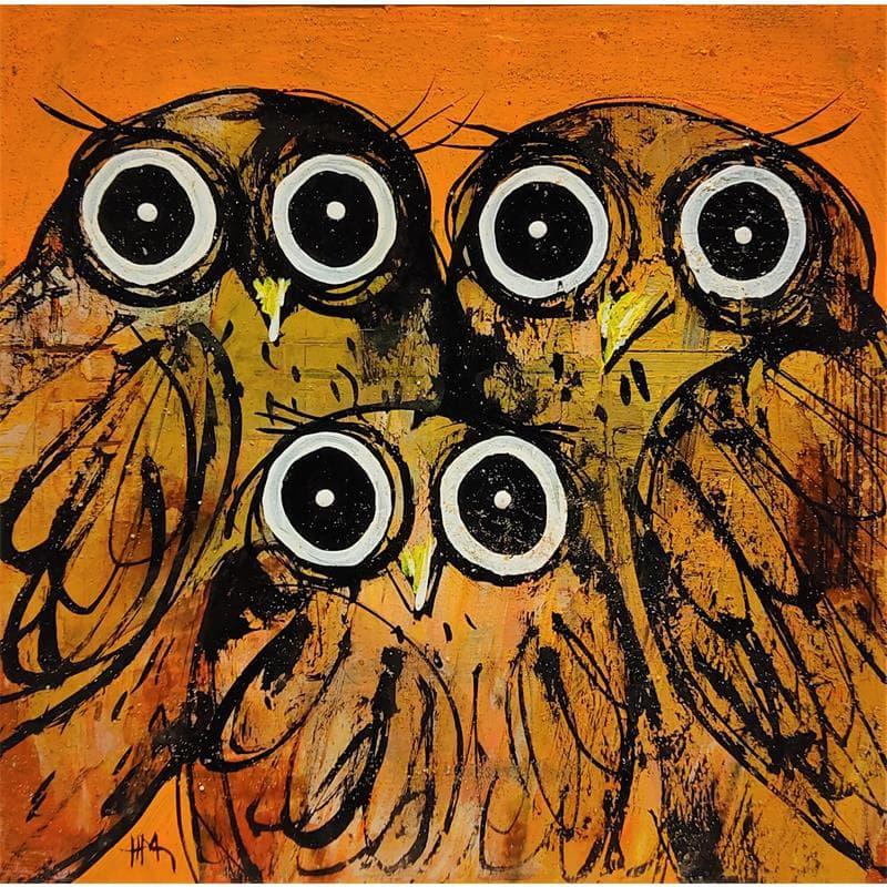 Trio de chouettes sur fond orange