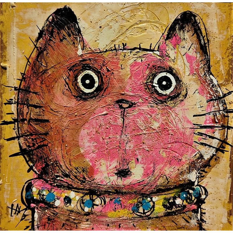 Chat rose au collier