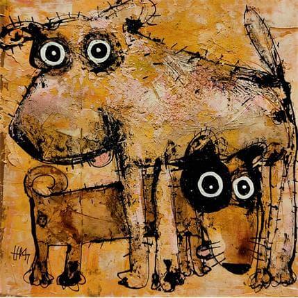 Hervé Maury Duo de chiens 36 x 36 cm
