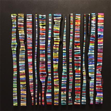 Luc Langeron Bande Color 14 Fine Multi 70 x 70 cm
