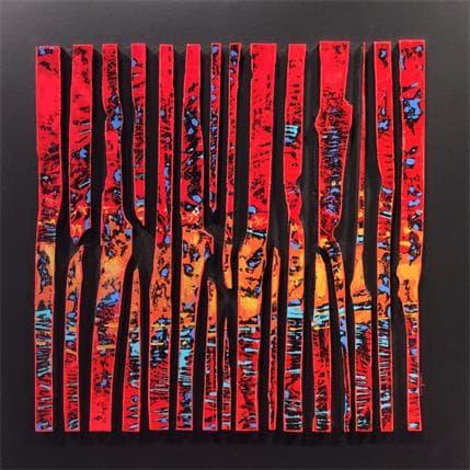 Luc Langeron Bande Color 16 Impressuion Rouge Bleu 05 80 x 80 cm