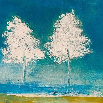 Odile Escolier Arbres sur fond turquoise 19 x 19 cm