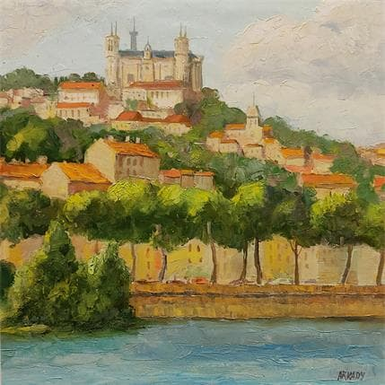 Arkady Les rives de la Saône 36 x 36 cm