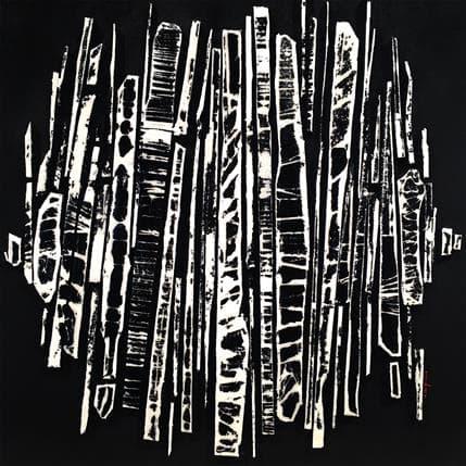 Luc Langeron Bande Color 22 Noir blanc 50 x 50 cm