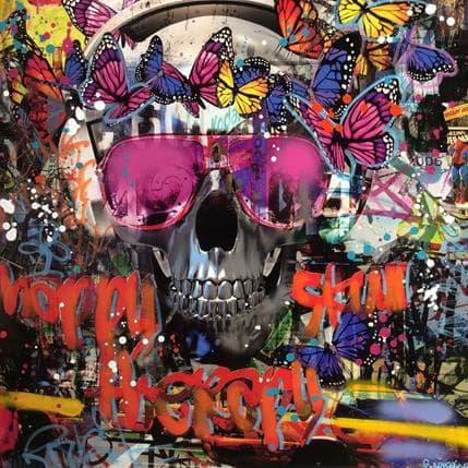 Fabien Novarino Skull city 80 x 80 cm
