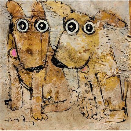 Maury Hervé Deux chiens 36 x 36 cm
