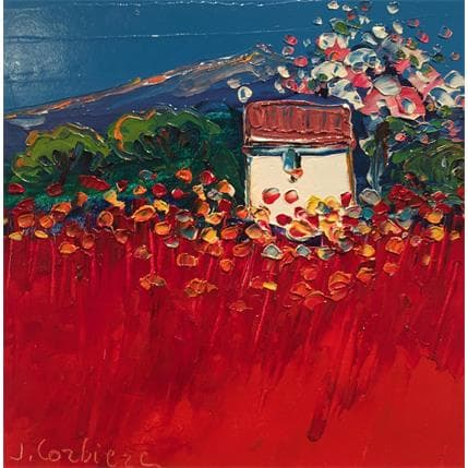 Liisa Corbière Cabanon et cerisier 19 x 19 cm