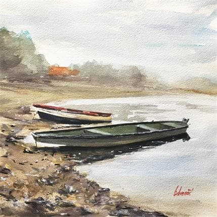 Cirkvencic Tihomir Old boats by the river 36 x 36 cm
