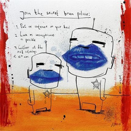 Jan Hein Arens Secret brain police 36 x 36 cm