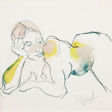 Sebastien Brunel Pauline Rose Bleu Jaune 19 x 19 cm