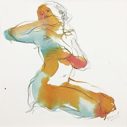 Sebastien Brunel Lydie main sur la bouche 25 x 25 cm