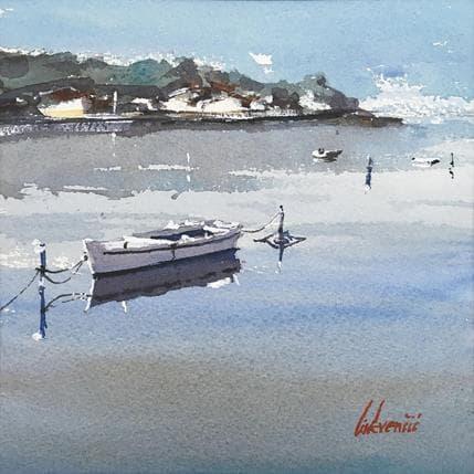 Tihomir Cirkvencic Beautiful seaside view-boats 19 x 19 cm