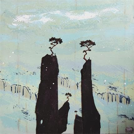 François-Régis Lemonnier 2347 Black roc with a blue sky 80 x 80 cm