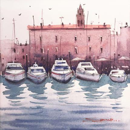 Swarup Dandapat Venice boats 13 x 13 cm