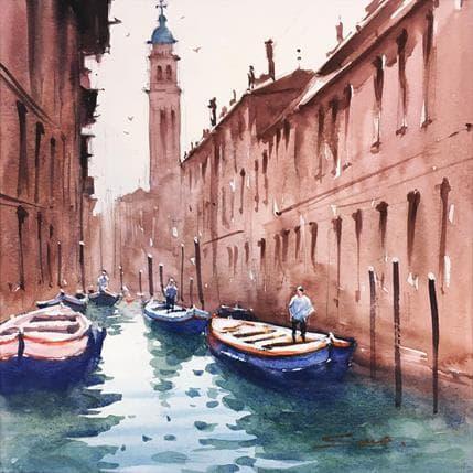 Swarup Dandapat Boat ride in Venise 2 25 x 25 cm