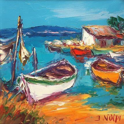 Jacques Volpi Barques étang de Thau 19 x 19 cm