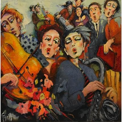 Nicole Garilli Swing music sur notes fleuries 100 x 100 cm