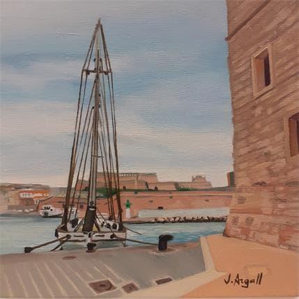 Julie Argall Voilier au port de Marseille 13 x 13 cm