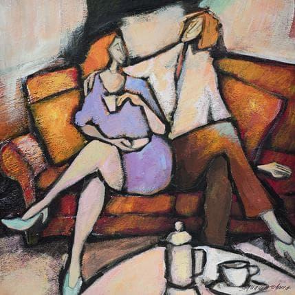 Bernard Signamarcheix Le café 25 x 25 cm