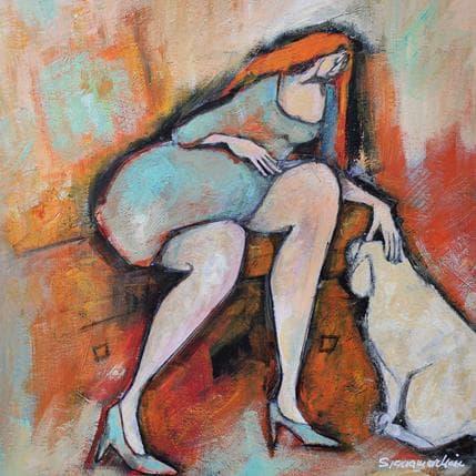 Bernard Signamarcheix Sur le banc 36 x 36 cm