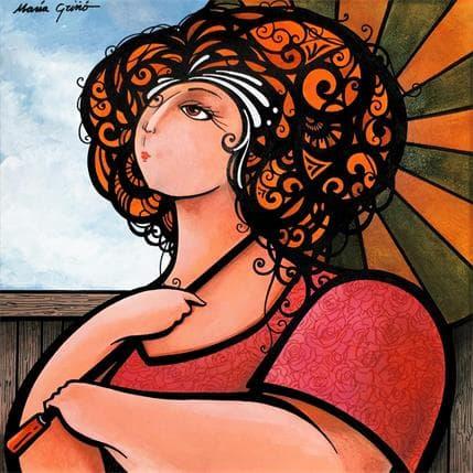 María Griñó Woman with umbrella 25 x 25 cm