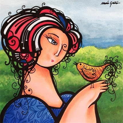 María Griñó Woman and bird 2 19 x 19 cm