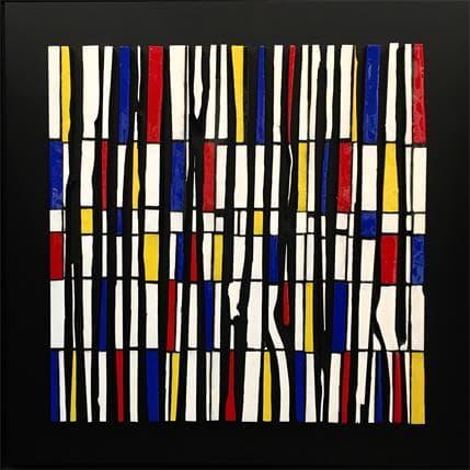 Luc Langeron Bande color 21 -Hommage à Mondrian 100 x 100 cm