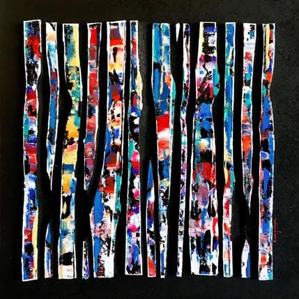Luc Langeron BC13 - Rip bleu rouge vert 36 x 36 cm