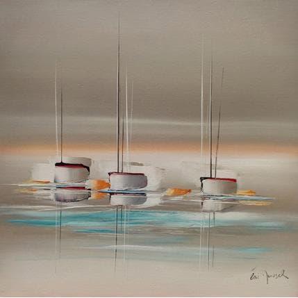 Eric Munsch Voyage sur les eaux turquoises 80 x 80 cm