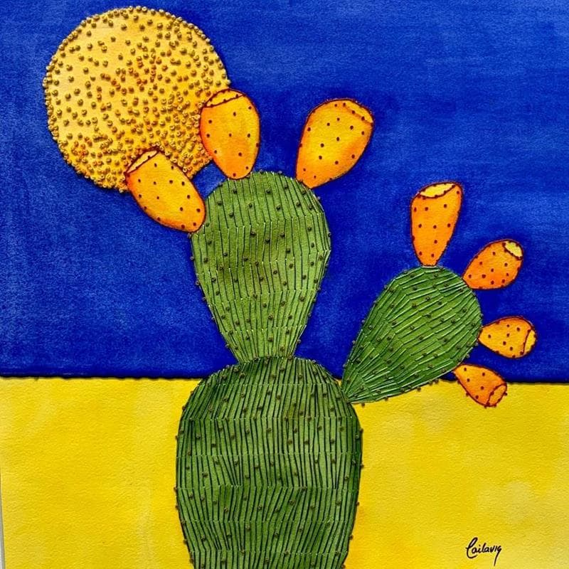nopal with blue and yellow wall