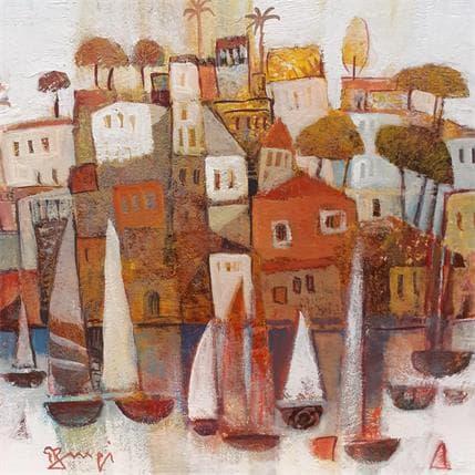 Roger Burgi VILLAGE ROUGE ET BATEAUX 19 x 19 cm