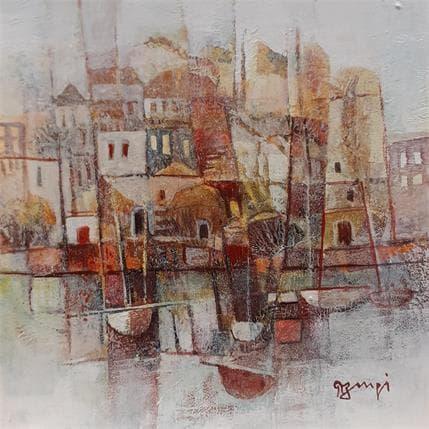 Roger Burgi VILLAGE JAUNES AUX BATEAUX 19 x 19 cm