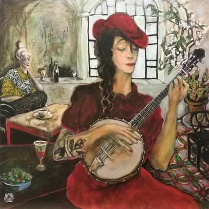 Esther Marlot La joueuse de banjo 80 x 80 cm