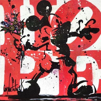 Patrick Cornée MICKEY FLOWER, LOVE RED VERSION 36 x 36 cm