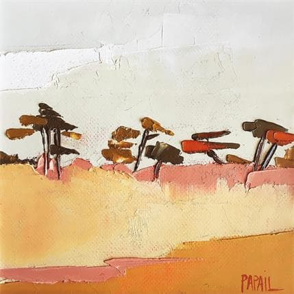 Françoise Papail Les pins derrière la dune 13 x 13 cm