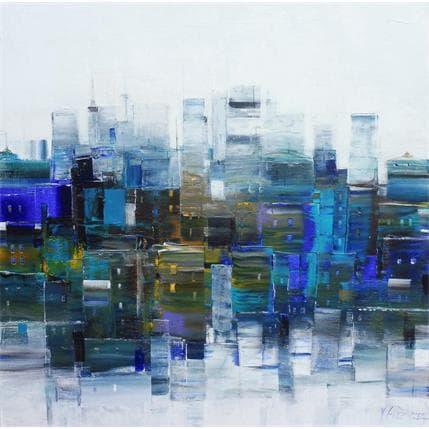 Véronique Fièvre Paysage urbain en bleu 80 x 80 cm